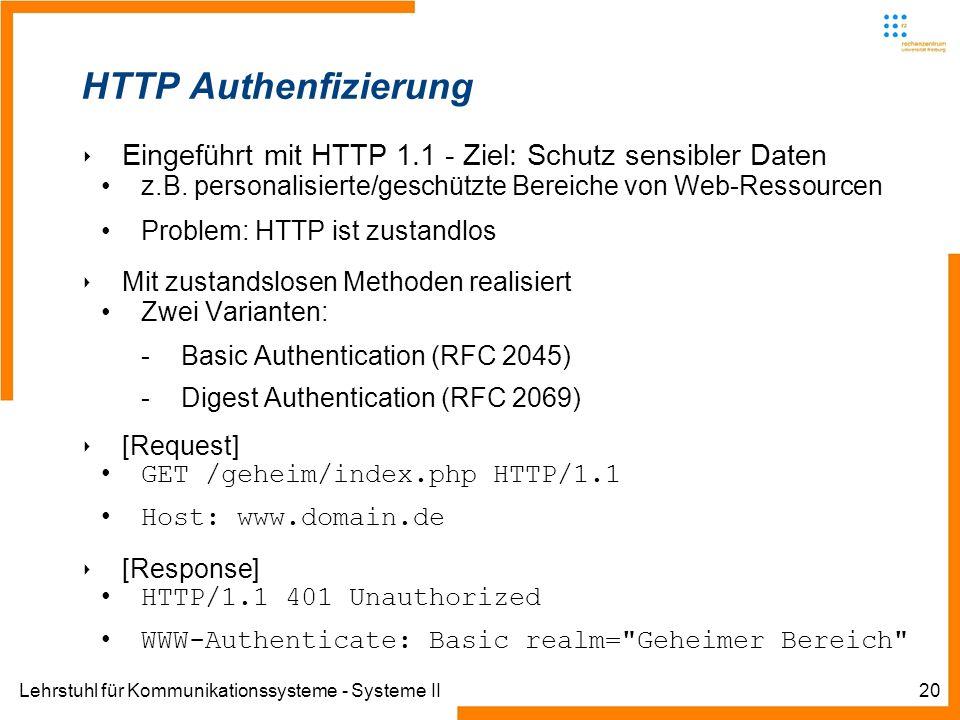 Lehrstuhl für Kommunikationssysteme - Systeme II20 HTTP Authenfizierung Eingeführt mit HTTP 1.1 - Ziel: Schutz sensibler Daten z.B. personalisierte/ge