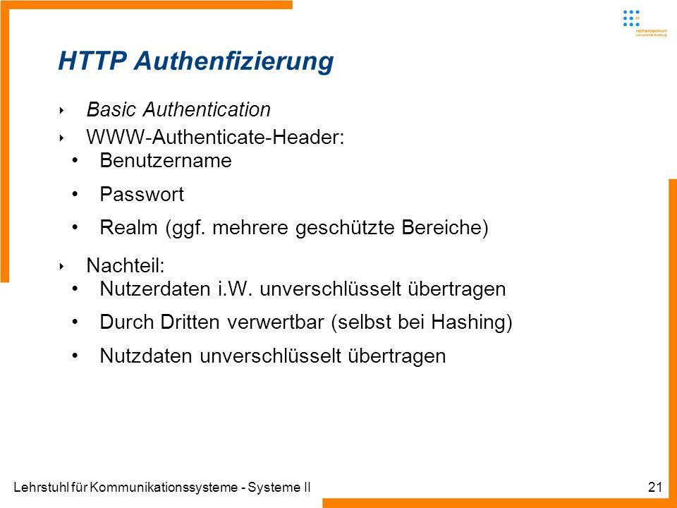 Lehrstuhl für Kommunikationssysteme - Systeme II21 HTTP Authenfizierung Basic Authentication WWW-Authenticate-Header: Benutzername Passwort Realm (ggf