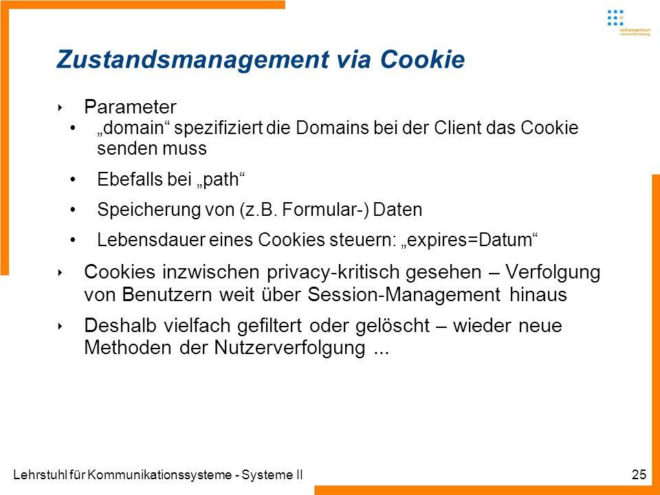 Lehrstuhl für Kommunikationssysteme - Systeme II25 Zustandsmanagement via Cookie Parameter domain spezifiziert die Domains bei der Client das Cookie s
