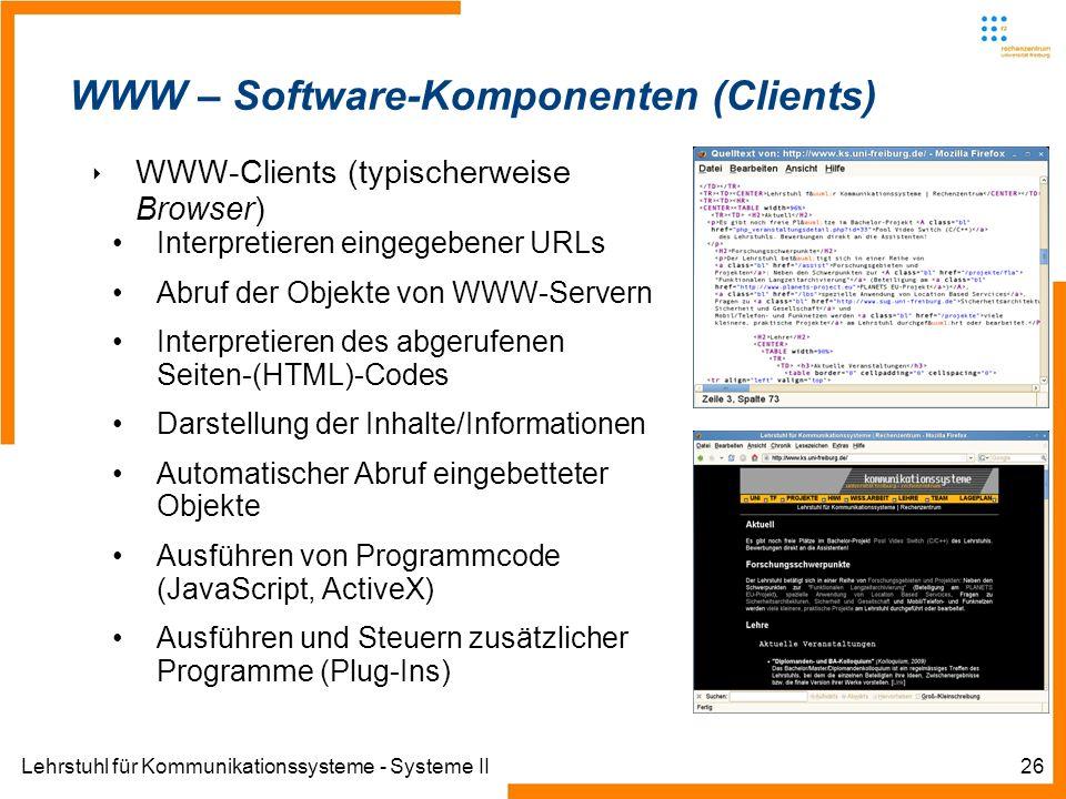 Lehrstuhl für Kommunikationssysteme - Systeme II26 WWW – Software-Komponenten (Clients) WWW-Clients (typischerweise Browser) Interpretieren eingegeben