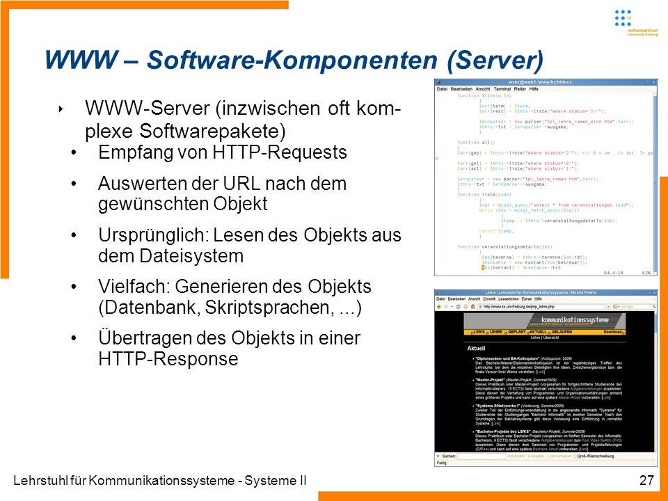 Lehrstuhl für Kommunikationssysteme - Systeme II27 WWW – Software-Komponenten (Server) WWW-Server (inzwischen oft kom- plexe Softwarepakete) Empfang v