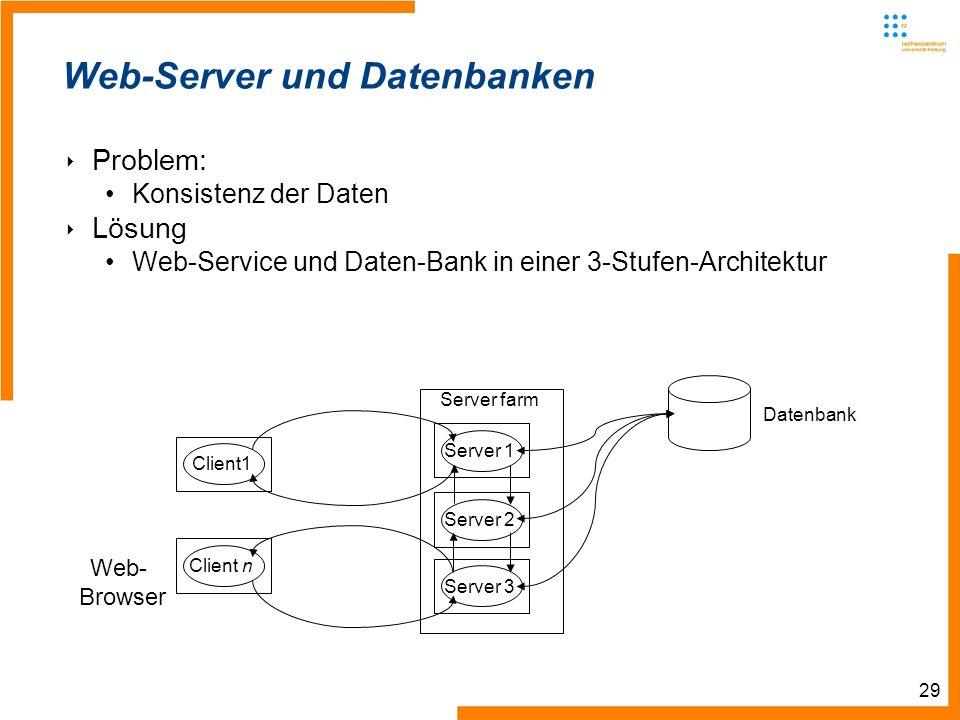 29 Web-Server und Datenbanken Problem: Konsistenz der Daten Lösung Web-Service und Daten-Bank in einer 3-Stufen-Architektur Server farm Client1 Client