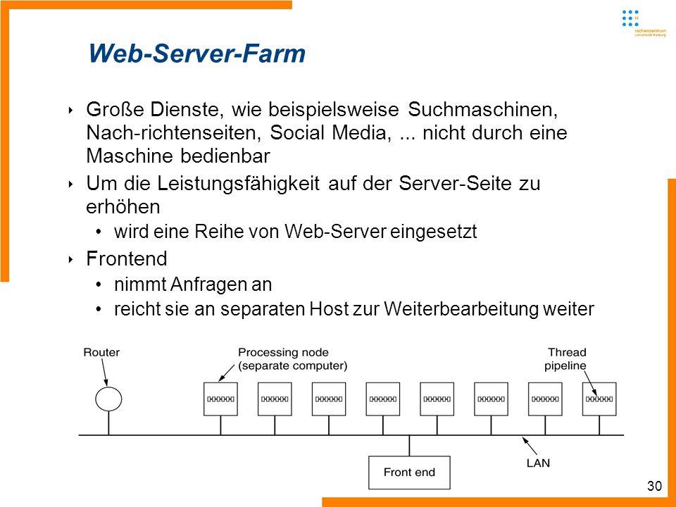 30 Web-Server-Farm Große Dienste, wie beispielsweise Suchmaschinen, Nach-richtenseiten, Social Media,... nicht durch eine Maschine bedienbar Um die Le
