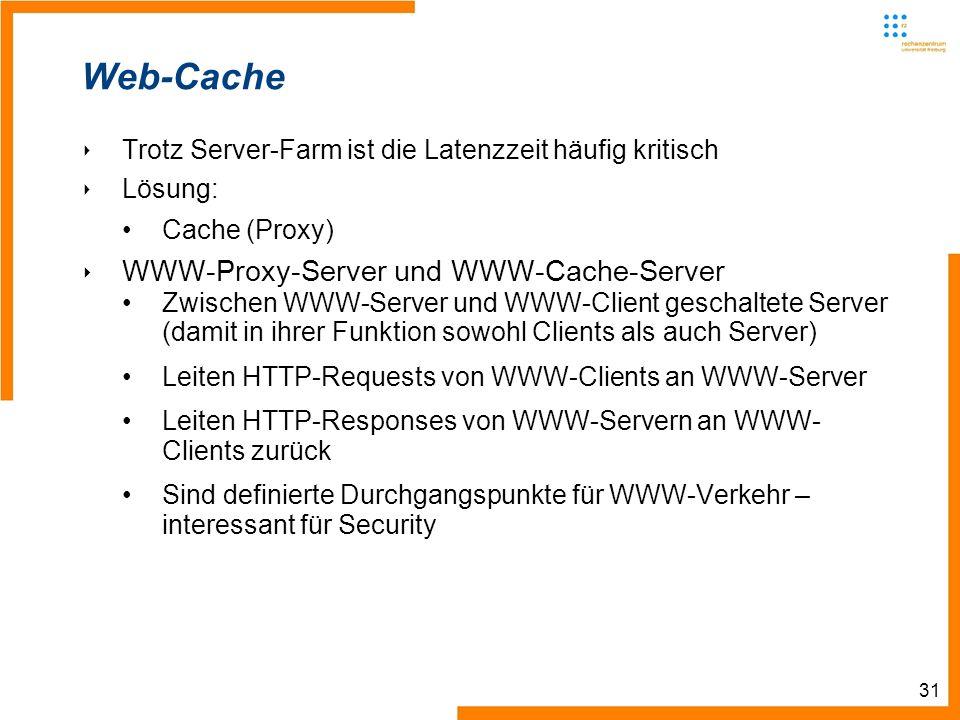 31 Web-Cache Trotz Server-Farm ist die Latenzzeit häufig kritisch Lösung: Cache (Proxy) WWW-Proxy-Server und WWW-Cache-Server Zwischen WWW-Server und