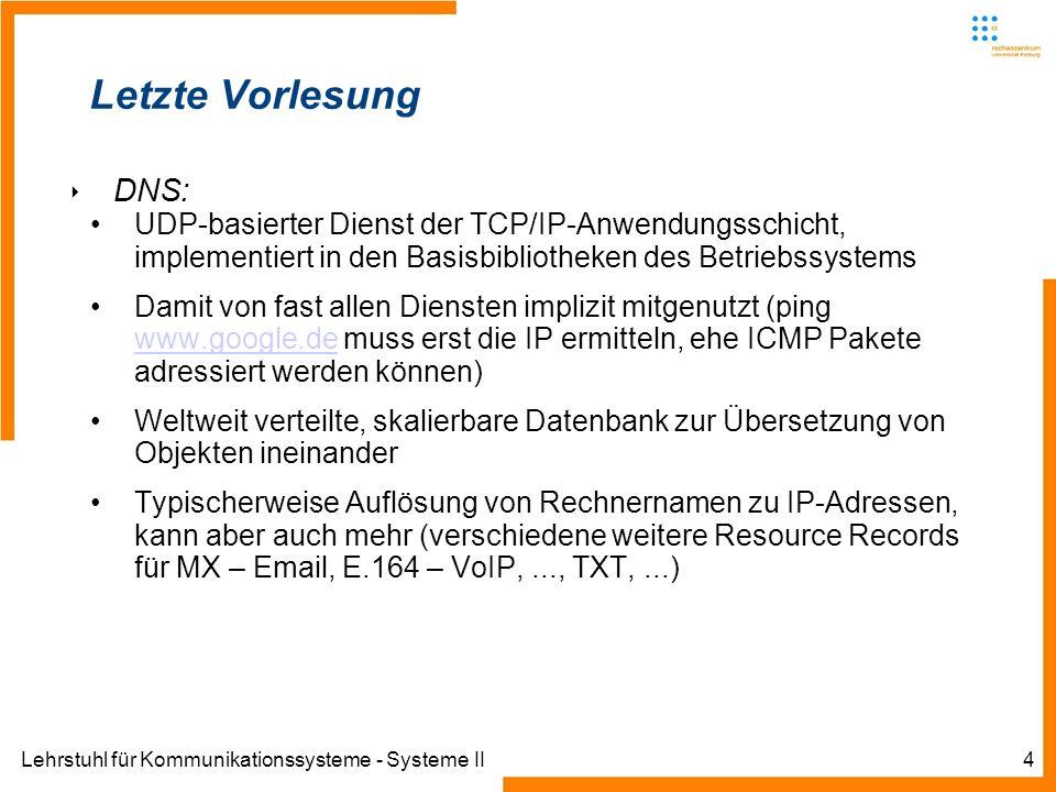 Lehrstuhl für Kommunikationssysteme - Systeme II5 WWW – Das World Wide Web Das Domain Name System (DNS) wird uns weiter begleiten Nun vorgestellte Protokoll des WWW macht (mittelbar) heftigen Gebrauch von DNS, speziell auch vom CNAME Resource Record Letzteres erlaubt Betrieb sehr vieler Web-Präsenzen auf einzigen IP, Beispiel Uni-Freiburg Lange Zeit lösten bspw.