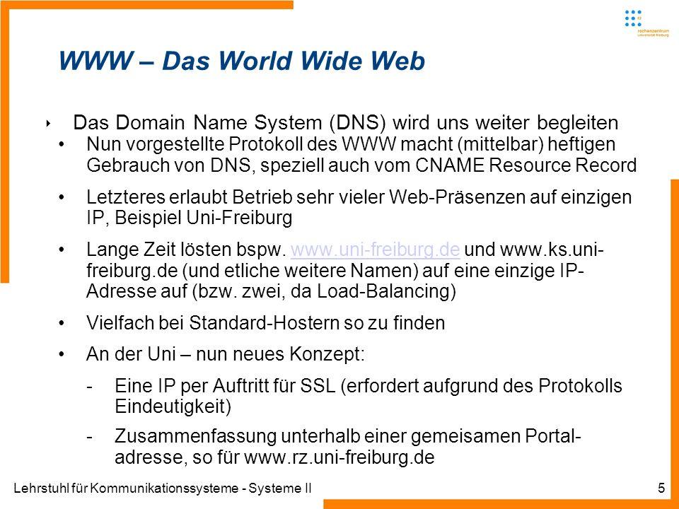 Lehrstuhl für Kommunikationssysteme - Systeme II5 WWW – Das World Wide Web Das Domain Name System (DNS) wird uns weiter begleiten Nun vorgestellte Pro