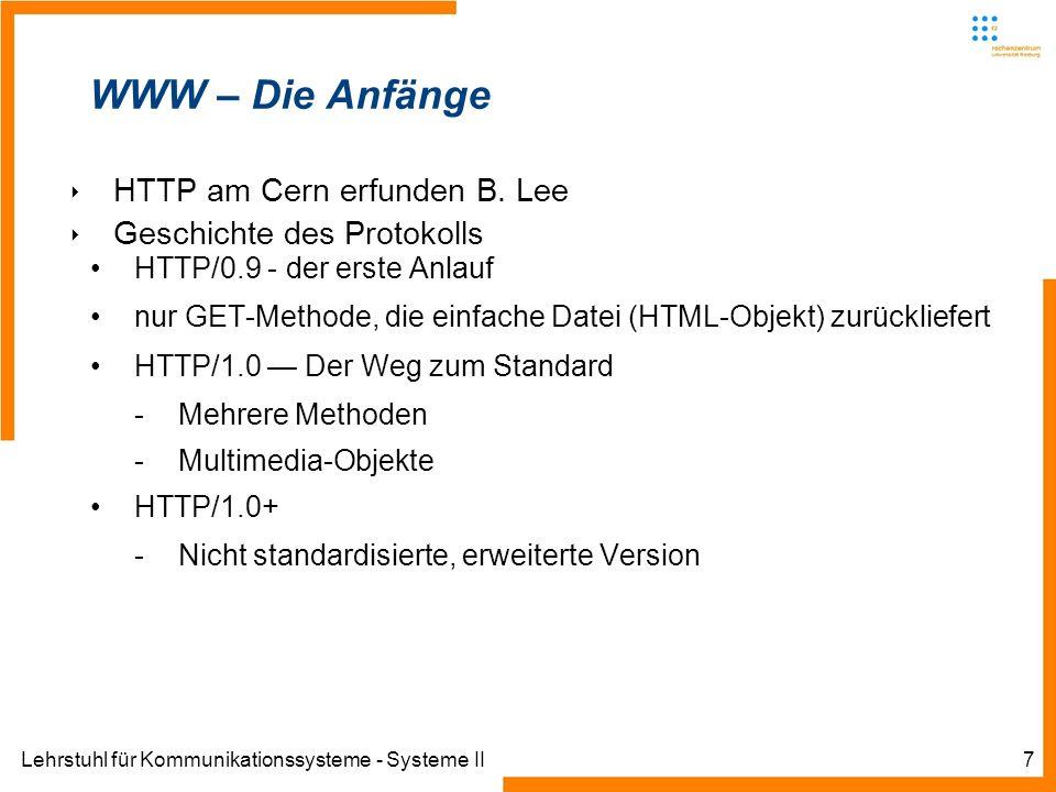 Lehrstuhl für Kommunikationssysteme - Systeme II7 WWW – Die Anfänge HTTP am Cern erfunden B. Lee Geschichte des Protokolls HTTP/0.9 - der erste Anlauf