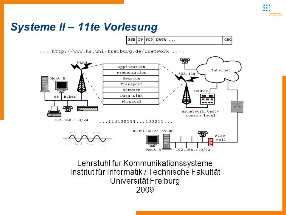 Lehrstuhl für Kommunikationssysteme - Systeme II1 Systeme II – 11te Vorlesung Lehrstuhl für Kommunikationssysteme Institut für Informatik / Technische Fakultät Universität Freiburg 2009