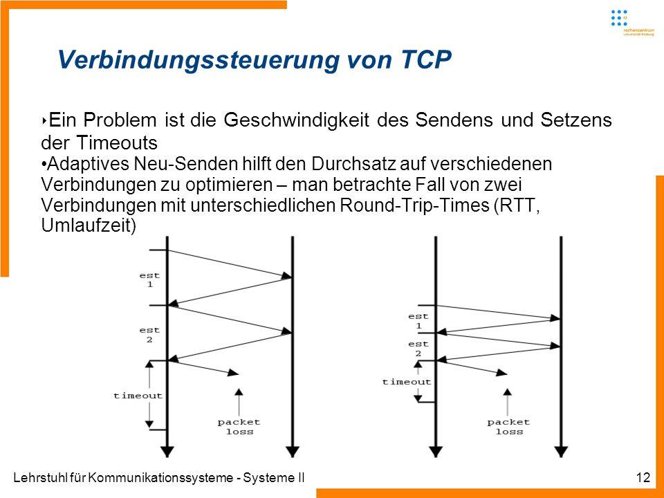 Lehrstuhl für Kommunikationssysteme - Systeme II12 Verbindungssteuerung von TCP Ein Problem ist die Geschwindigkeit des Sendens und Setzens der Timeouts Adaptives Neu-Senden hilft den Durchsatz auf verschiedenen Verbindungen zu optimieren – man betrachte Fall von zwei Verbindungen mit unterschiedlichen Round-Trip-Times (RTT, Umlaufzeit)