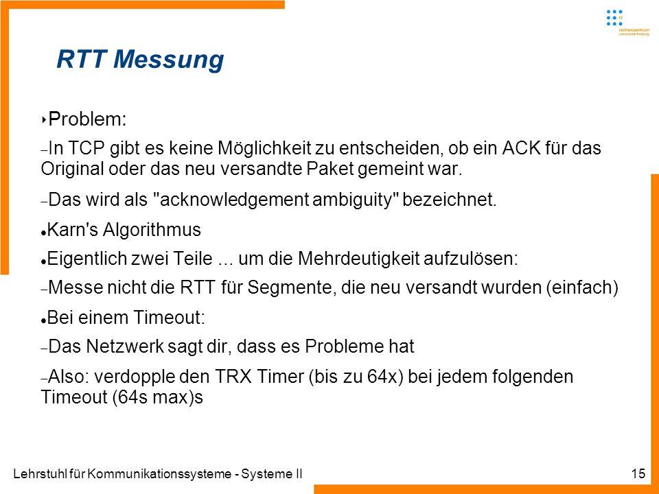 Lehrstuhl für Kommunikationssysteme - Systeme II15 RTT Messung Problem: In TCP gibt es keine Möglichkeit zu entscheiden, ob ein ACK für das Original o