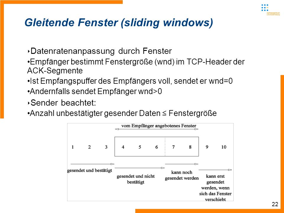 22 Gleitende Fenster (sliding windows) Datenratenanpassung durch Fenster Empfänger bestimmt Fenstergröße (wnd) im TCP-Header der ACK-Segmente Ist Empfangspuffer des Empfängers voll, sendet er wnd=0 Andernfalls sendet Empfänger wnd>0 Sender beachtet: Anzahl unbestätigter gesender Daten Fenstergröße