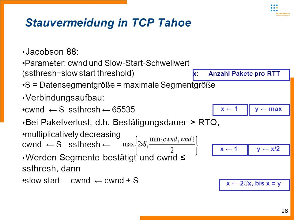 26 Jacobson 88: Parameter: cwnd und Slow-Start-Schwellwert (ssthresh=slow start threshold) S = Datensegmentgröße = maximale Segmentgröße Verbindungsaufbau: cwnd Sssthresh 65535 Bei Paketverlust, d.h.