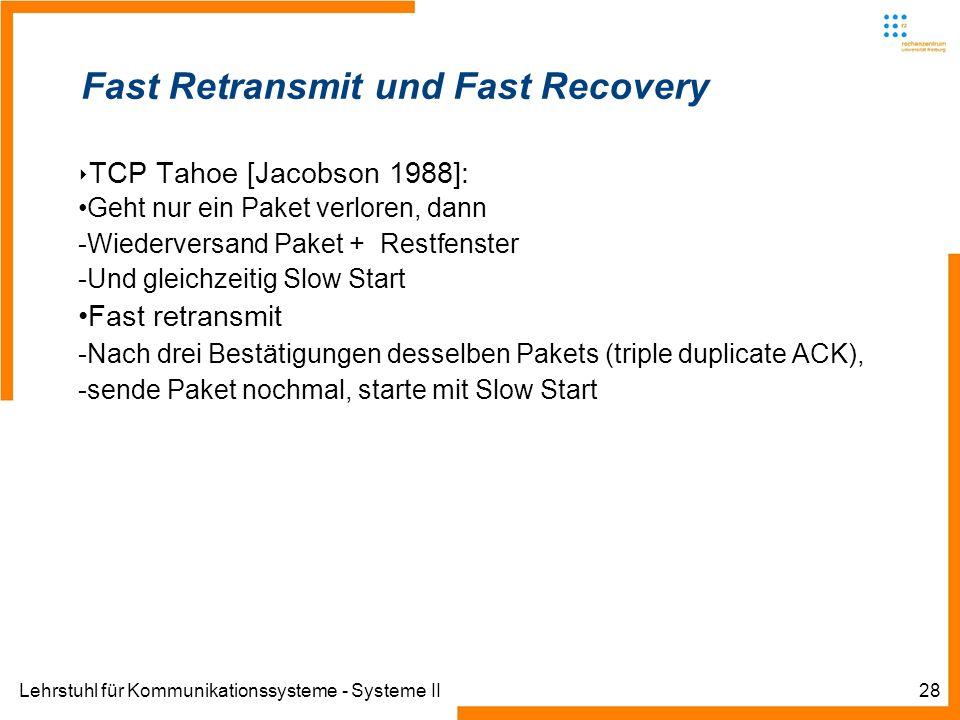 Lehrstuhl für Kommunikationssysteme - Systeme II28 Fast Retransmit und Fast Recovery TCP Tahoe [Jacobson 1988]: Geht nur ein Paket verloren, dann -Wiederversand Paket + Restfenster -Und gleichzeitig Slow Start Fast retransmit -Nach drei Bestätigungen desselben Pakets (triple duplicate ACK), -sende Paket nochmal, starte mit Slow Start