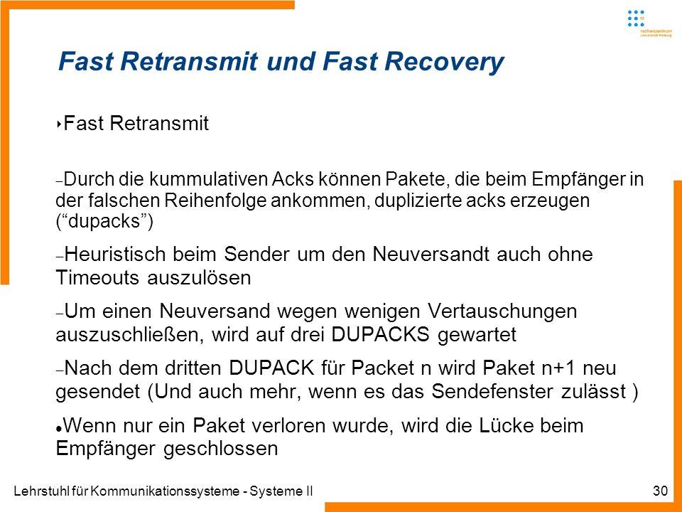 Lehrstuhl für Kommunikationssysteme - Systeme II30 Fast Retransmit und Fast Recovery Fast Retransmit Durch die kummulativen Acks können Pakete, die be