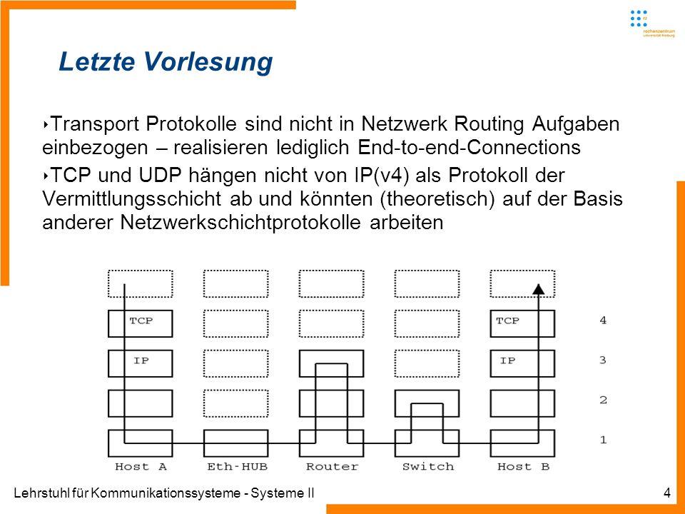 Lehrstuhl für Kommunikationssysteme - Systeme II4 Letzte Vorlesung Transport Protokolle sind nicht in Netzwerk Routing Aufgaben einbezogen – realisieren lediglich End-to-end-Connections TCP und UDP hängen nicht von IP(v4) als Protokoll der Vermittlungsschicht ab und könnten (theoretisch) auf der Basis anderer Netzwerkschichtprotokolle arbeiten