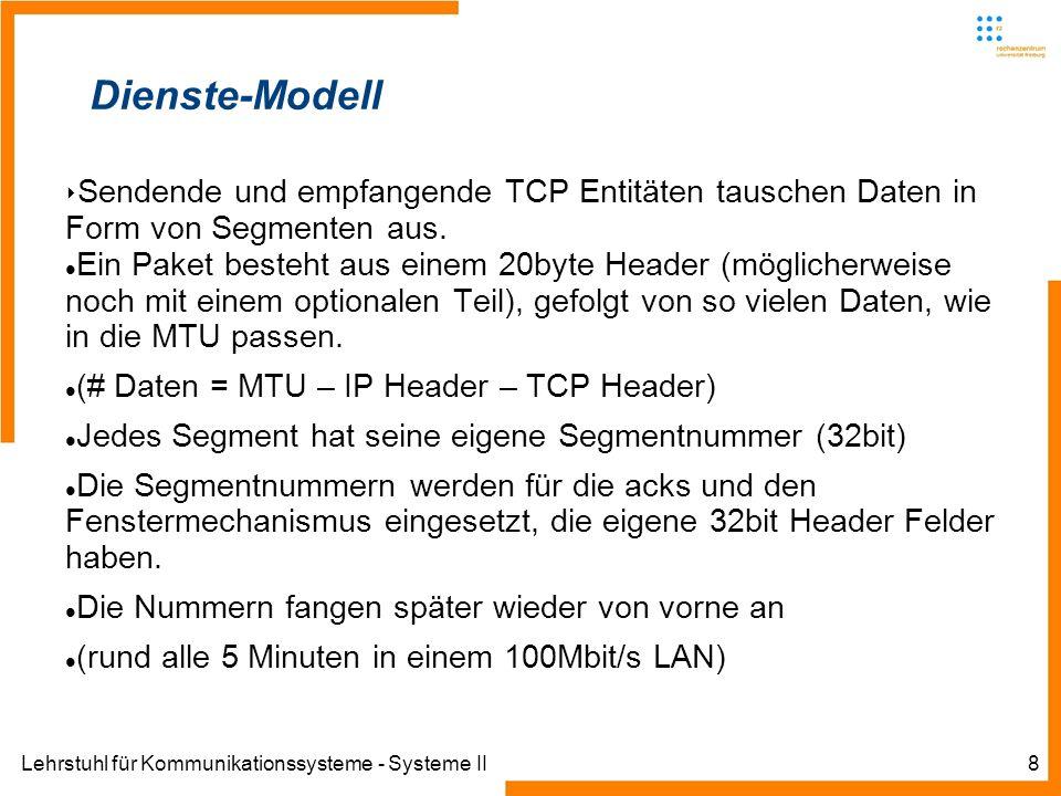 Lehrstuhl für Kommunikationssysteme - Systeme II8 Dienste-Modell Sendende und empfangende TCP Entitäten tauschen Daten in Form von Segmenten aus. Ein