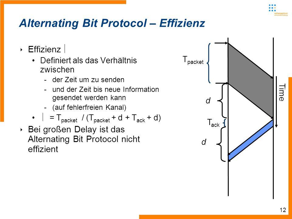 12 T ack Time d T packet d Alternating Bit Protocol – Effizienz Effizienz Definiert als das Verhältnis zwischen -der Zeit um zu senden -und der Zeit bis neue Information gesendet werden kann -(auf fehlerfreien Kanal) = T packet / (T packet + d + T ack + d) Bei großen Delay ist das Alternating Bit Protocol nicht effizient