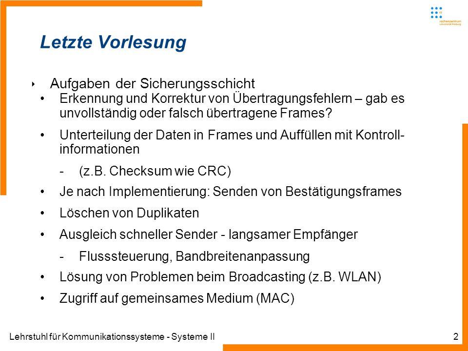 Lehrstuhl für Kommunikationssysteme - Systeme II2 Letzte Vorlesung Aufgaben der Sicherungsschicht Erkennung und Korrektur von Übertragungsfehlern – gab es unvollständig oder falsch übertragene Frames.
