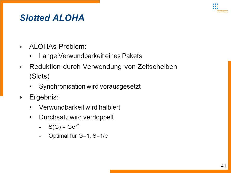 41 Slotted ALOHA ALOHAs Problem: Lange Verwundbarkeit eines Pakets Reduktion durch Verwendung von Zeitscheiben (Slots) Synchronisation wird vorausgesetzt Ergebnis: Verwundbarkeit wird halbiert Durchsatz wird verdoppelt -S(G) = Ge -G -Optimal für G=1, S=1/e