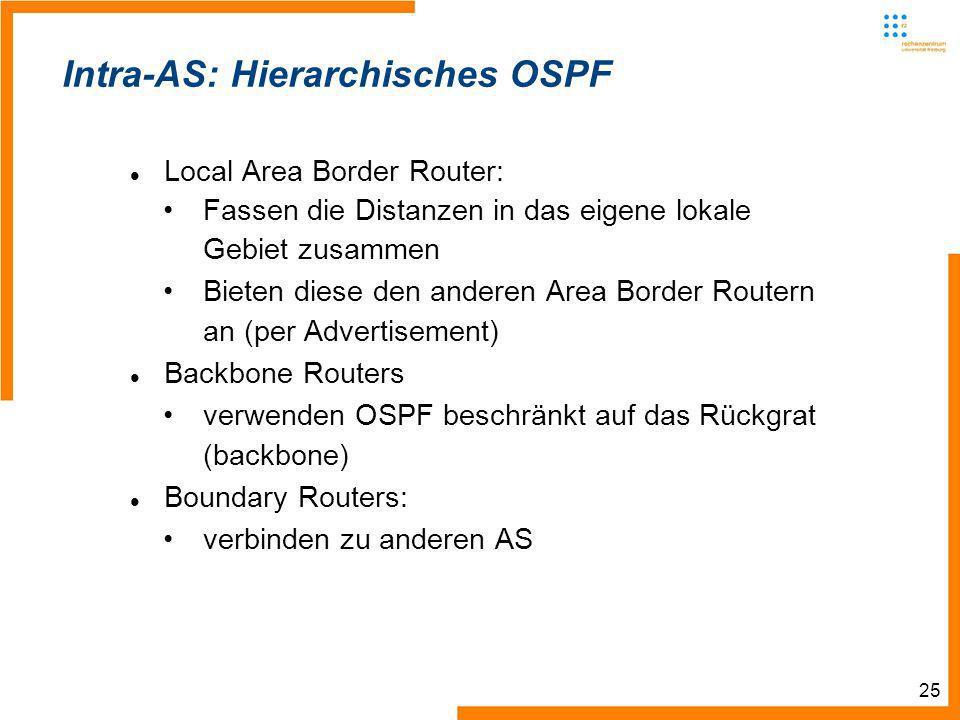 25 Intra-AS: Hierarchisches OSPF Local Area Border Router: Fassen die Distanzen in das eigene lokale Gebiet zusammen Bieten diese den anderen Area Border Routern an (per Advertisement) Backbone Routers verwenden OSPF beschränkt auf das Rückgrat (backbone) Boundary Routers: verbinden zu anderen AS
