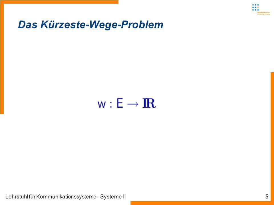 Lehrstuhl für Kommunikationssysteme - Systeme II5 Das Kürzeste-Wege-Problem