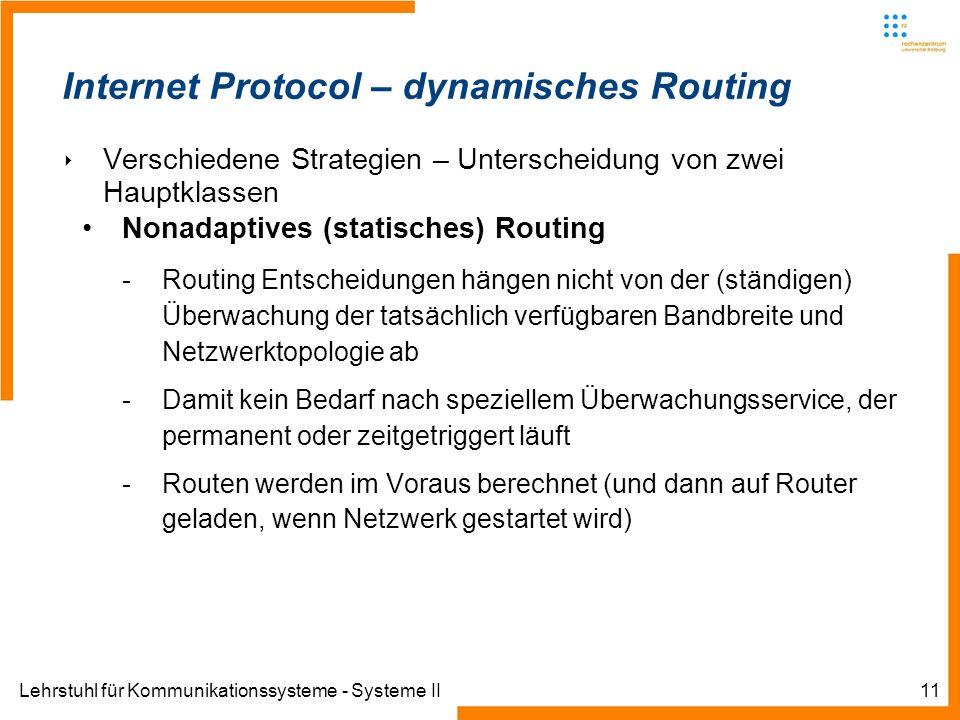 Lehrstuhl für Kommunikationssysteme - Systeme II11 Internet Protocol – dynamisches Routing Verschiedene Strategien – Unterscheidung von zwei Hauptklassen Nonadaptives (statisches) Routing -Routing Entscheidungen hängen nicht von der (ständigen) Überwachung der tatsächlich verfügbaren Bandbreite und Netzwerktopologie ab -Damit kein Bedarf nach speziellem Überwachungsservice, der permanent oder zeitgetriggert läuft -Routen werden im Voraus berechnet (und dann auf Router geladen, wenn Netzwerk gestartet wird)
