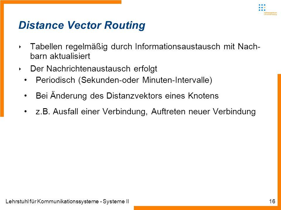 Lehrstuhl für Kommunikationssysteme - Systeme II16 Distance Vector Routing Tabellen regelmäßig durch Informationsaustausch mit Nach- barn aktualisiert Der Nachrichtenaustausch erfolgt Periodisch (Sekunden-oder Minuten-Intervalle) Bei Änderung des Distanzvektors eines Knotens z.B.