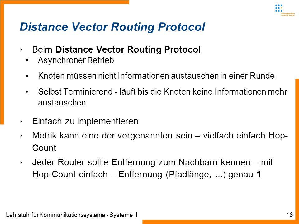 Lehrstuhl für Kommunikationssysteme - Systeme II18 Distance Vector Routing Protocol Beim Distance Vector Routing Protocol Asynchroner Betrieb Knoten müssen nicht Informationen austauschen in einer Runde Selbst Terminierend - läuft bis die Knoten keine Informationen mehr austauschen Einfach zu implementieren Metrik kann eine der vorgenannten sein – vielfach einfach Hop- Count Jeder Router sollte Entfernung zum Nachbarn kennen – mit Hop-Count einfach – Entfernung (Pfadlänge,...) genau 1