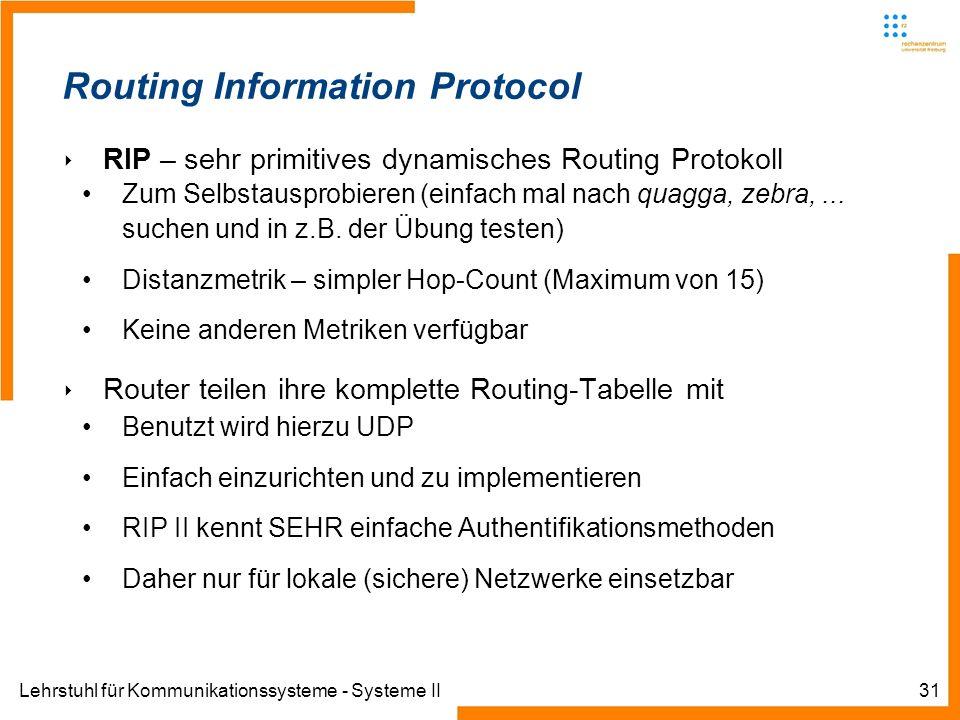 Lehrstuhl für Kommunikationssysteme - Systeme II31 Routing Information Protocol RIP – sehr primitives dynamisches Routing Protokoll Zum Selbstausprobieren (einfach mal nach quagga, zebra,...