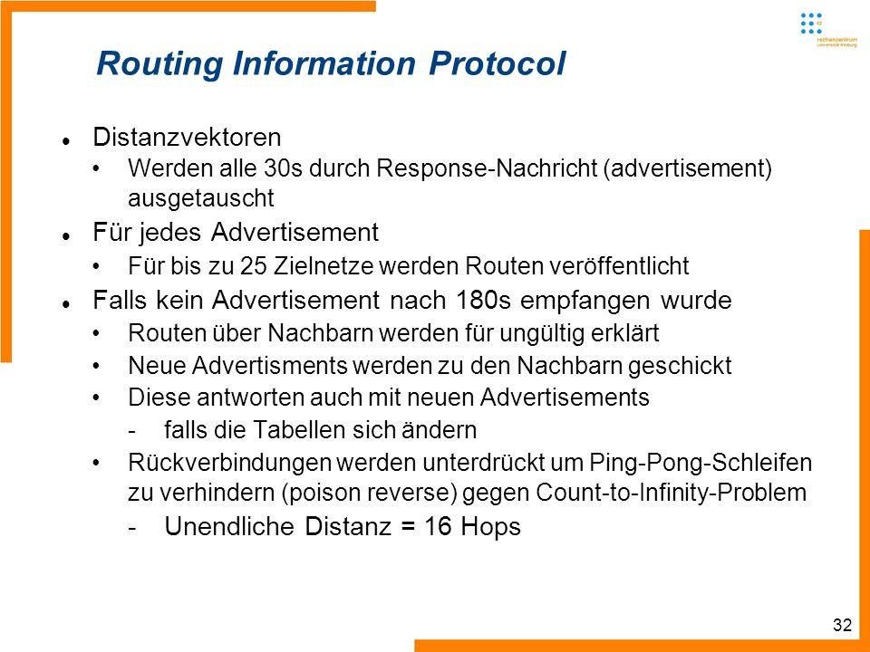 32 Routing Information Protocol Distanzvektoren Werden alle 30s durch Response-Nachricht (advertisement) ausgetauscht Für jedes Advertisement Für bis zu 25 Zielnetze werden Routen veröffentlicht Falls kein Advertisement nach 180s empfangen wurde Routen über Nachbarn werden für ungültig erklärt Neue Advertisments werden zu den Nachbarn geschickt Diese antworten auch mit neuen Advertisements -falls die Tabellen sich ändern Rückverbindungen werden unterdrückt um Ping-Pong-Schleifen zu verhindern (poison reverse) gegen Count-to-Infinity-Problem -Unendliche Distanz = 16 Hops