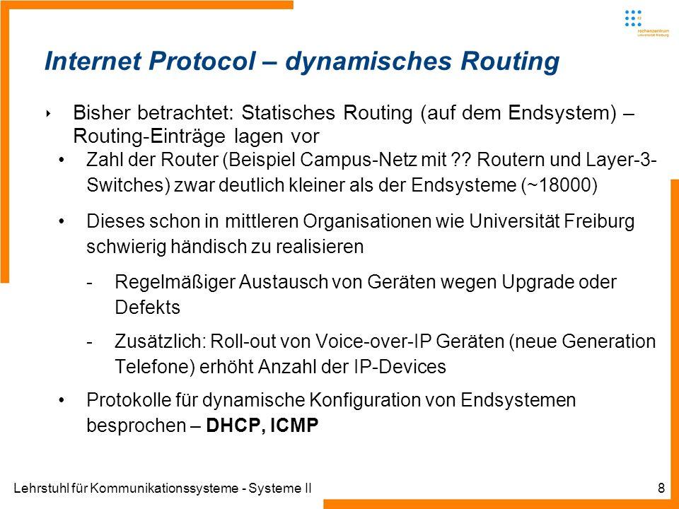 Lehrstuhl für Kommunikationssysteme - Systeme II8 Internet Protocol – dynamisches Routing Bisher betrachtet: Statisches Routing (auf dem Endsystem) – Routing-Einträge lagen vor Zahl der Router (Beispiel Campus-Netz mit .
