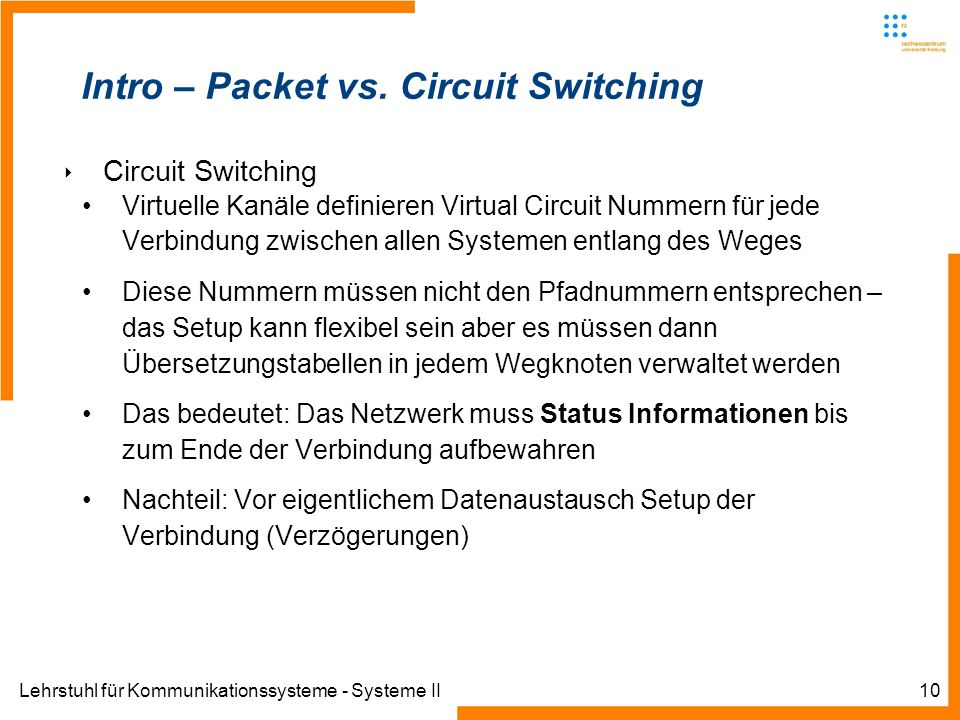 Lehrstuhl für Kommunikationssysteme - Systeme II10 Intro – Packet vs. Circuit Switching Circuit Switching Virtuelle Kanäle definieren Virtual Circuit