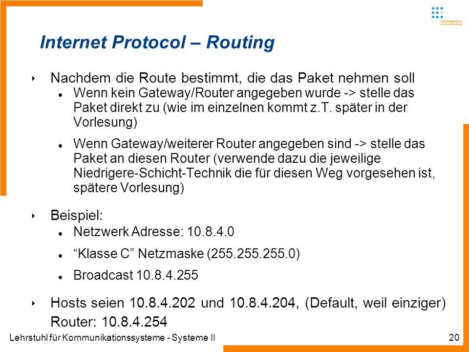 Lehrstuhl für Kommunikationssysteme - Systeme II20 Internet Protocol – Routing Nachdem die Route bestimmt, die das Paket nehmen soll Wenn kein Gateway/Router angegeben wurde -> stelle das Paket direkt zu (wie im einzelnen kommt z.T.