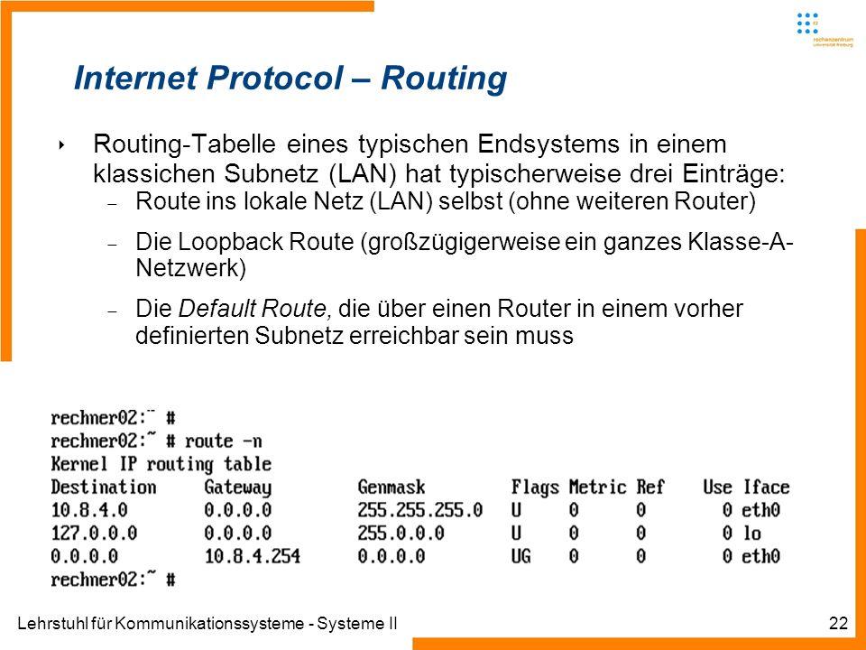 Lehrstuhl für Kommunikationssysteme - Systeme II22 Internet Protocol – Routing Routing-Tabelle eines typischen Endsystems in einem klassichen Subnetz (LAN) hat typischerweise drei Einträge: Route ins lokale Netz (LAN) selbst (ohne weiteren Router) Die Loopback Route (großzügigerweise ein ganzes Klasse-A- Netzwerk) Die Default Route, die über einen Router in einem vorher definierten Subnetz erreichbar sein muss
