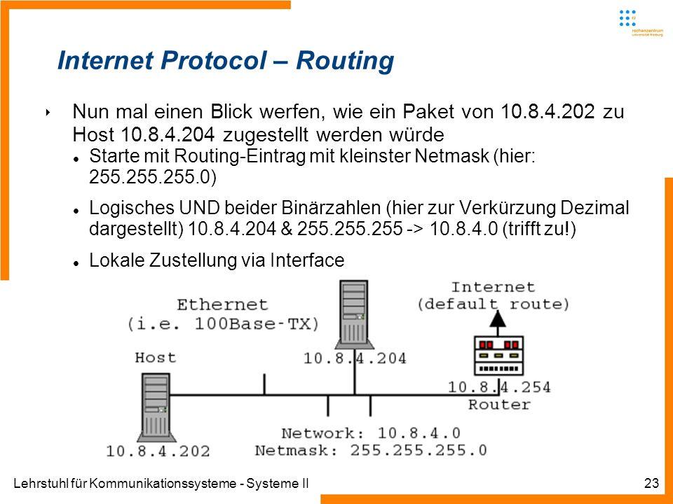 Lehrstuhl für Kommunikationssysteme - Systeme II23 Internet Protocol – Routing Nun mal einen Blick werfen, wie ein Paket von 10.8.4.202 zu Host 10.8.4.204 zugestellt werden würde Starte mit Routing-Eintrag mit kleinster Netmask (hier: 255.255.255.0) Logisches UND beider Binärzahlen (hier zur Verkürzung Dezimal dargestellt) 10.8.4.204 & 255.255.255 -> 10.8.4.0 (trifft zu!) Lokale Zustellung via Interface