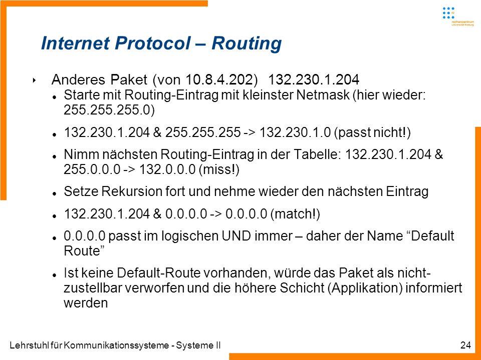 Lehrstuhl für Kommunikationssysteme - Systeme II24 Internet Protocol – Routing Anderes Paket (von 10.8.4.202) 132.230.1.204 Starte mit Routing-Eintrag mit kleinster Netmask (hier wieder: 255.255.255.0) 132.230.1.204 & 255.255.255 -> 132.230.1.0 (passt nicht!) Nimm nächsten Routing-Eintrag in der Tabelle: 132.230.1.204 & 255.0.0.0 -> 132.0.0.0 (miss!) Setze Rekursion fort und nehme wieder den nächsten Eintrag 132.230.1.204 & 0.0.0.0 -> 0.0.0.0 (match!) 0.0.0.0 passt im logischen UND immer – daher der Name Default Route Ist keine Default-Route vorhanden, würde das Paket als nicht- zustellbar verworfen und die höhere Schicht (Applikation) informiert werden