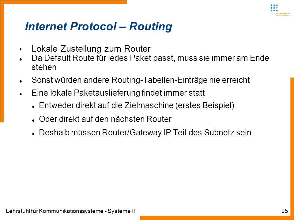 Lehrstuhl für Kommunikationssysteme - Systeme II25 Internet Protocol – Routing Lokale Zustellung zum Router Da Default Route für jedes Paket passt, muss sie immer am Ende stehen Sonst würden andere Routing-Tabellen-Einträge nie erreicht Eine lokale Paketauslieferung findet immer statt Entweder direkt auf die Zielmaschine (erstes Beispiel) Oder direkt auf den nächsten Router Deshalb müssen Router/Gateway IP Teil des Subnetz sein