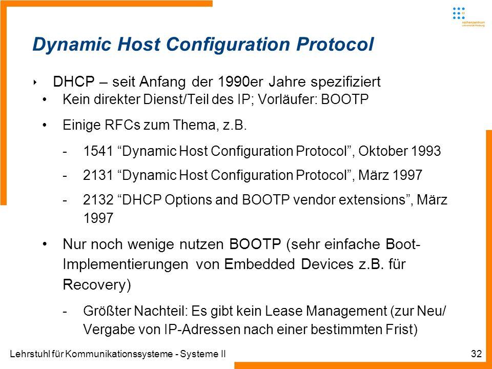 Lehrstuhl für Kommunikationssysteme - Systeme II32 Dynamic Host Configuration Protocol DHCP – seit Anfang der 1990er Jahre spezifiziert Kein direkter Dienst/Teil des IP; Vorläufer: BOOTP Einige RFCs zum Thema, z.B.