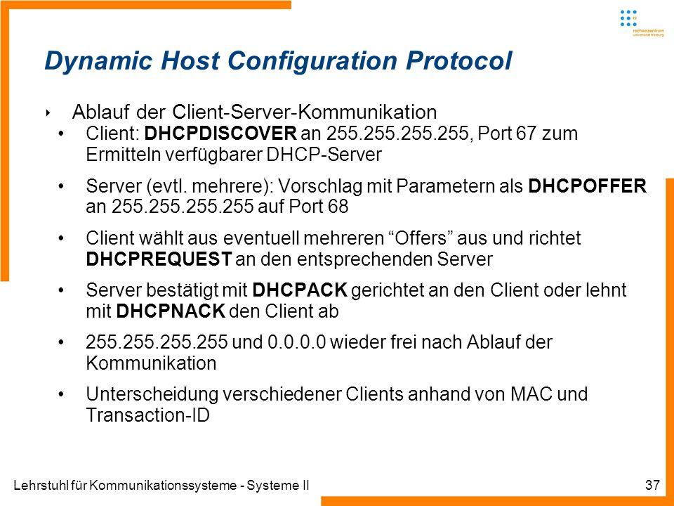 Lehrstuhl für Kommunikationssysteme - Systeme II37 Dynamic Host Configuration Protocol Ablauf der Client-Server-Kommunikation Client: DHCPDISCOVER an 255.255.255.255, Port 67 zum Ermitteln verfügbarer DHCP-Server Server (evtl.