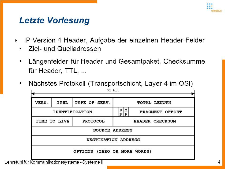 Lehrstuhl für Kommunikationssysteme - Systeme II4 Letzte Vorlesung IP Version 4 Header, Aufgabe der einzelnen Header-Felder Ziel- und Quelladressen Längenfelder für Header und Gesamtpaket, Checksumme für Header, TTL,...