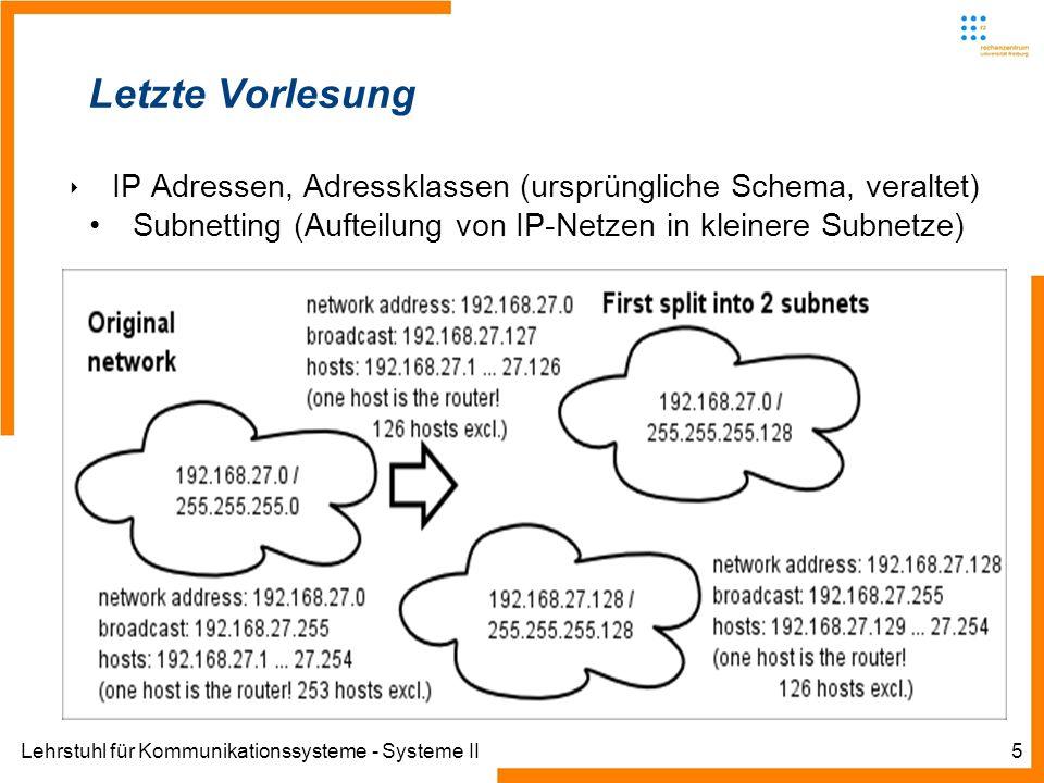 Lehrstuhl für Kommunikationssysteme - Systeme II5 Letzte Vorlesung IP Adressen, Adressklassen (ursprüngliche Schema, veraltet) Subnetting (Aufteilung von IP-Netzen in kleinere Subnetze)