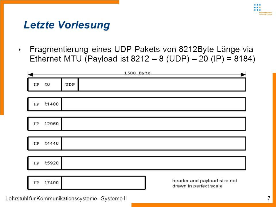 Lehrstuhl für Kommunikationssysteme - Systeme II7 Letzte Vorlesung Fragmentierung eines UDP-Pakets von 8212Byte Länge via Ethernet MTU (Payload ist 8212 – 8 (UDP) – 20 (IP) = 8184)