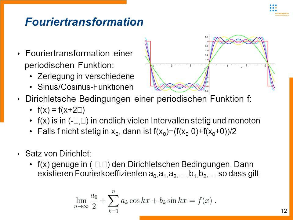 12 Informatik III Winter 2007/08 Rechnernetze und Telematik Albert-Ludwig-Universität Freiburg Christian Schindelhauer Fouriertransformation Fouriertr