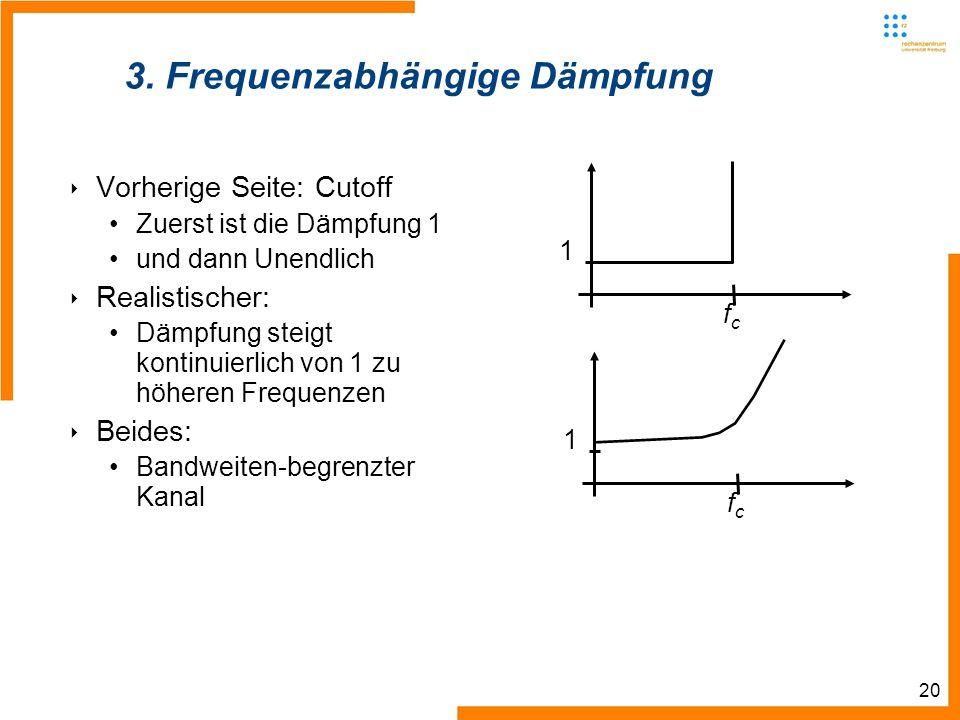 20 3. Frequenzabhängige Dämpfung Vorherige Seite: Cutoff Zuerst ist die Dämpfung 1 und dann Unendlich Realistischer: Dämpfung steigt kontinuierlich vo