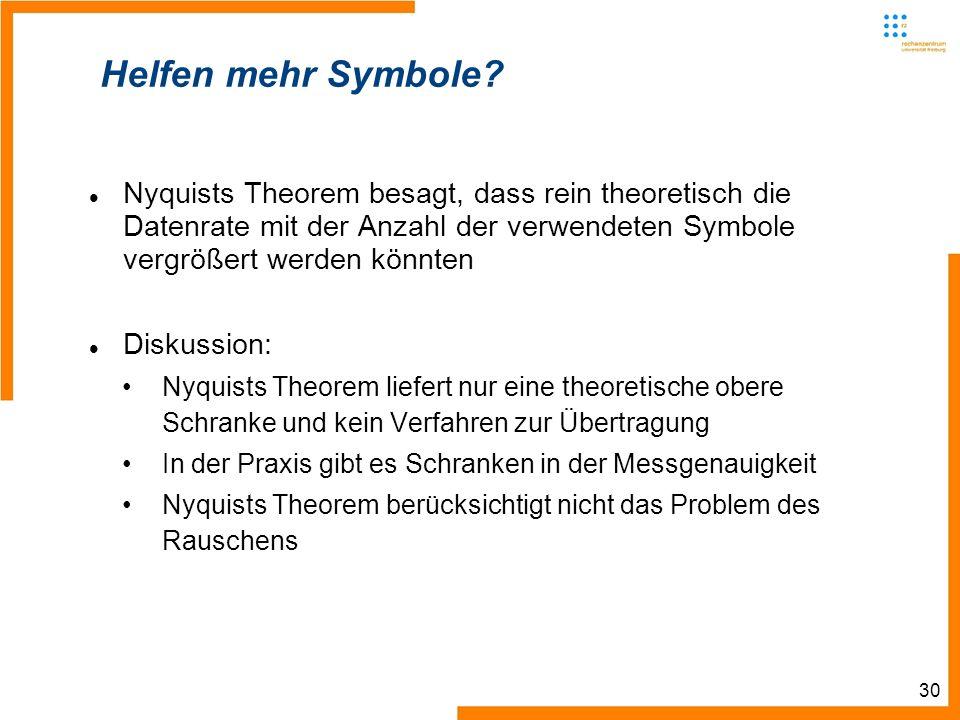 30 Helfen mehr Symbole? Nyquists Theorem besagt, dass rein theoretisch die Datenrate mit der Anzahl der verwendeten Symbole vergrößert werden könnten