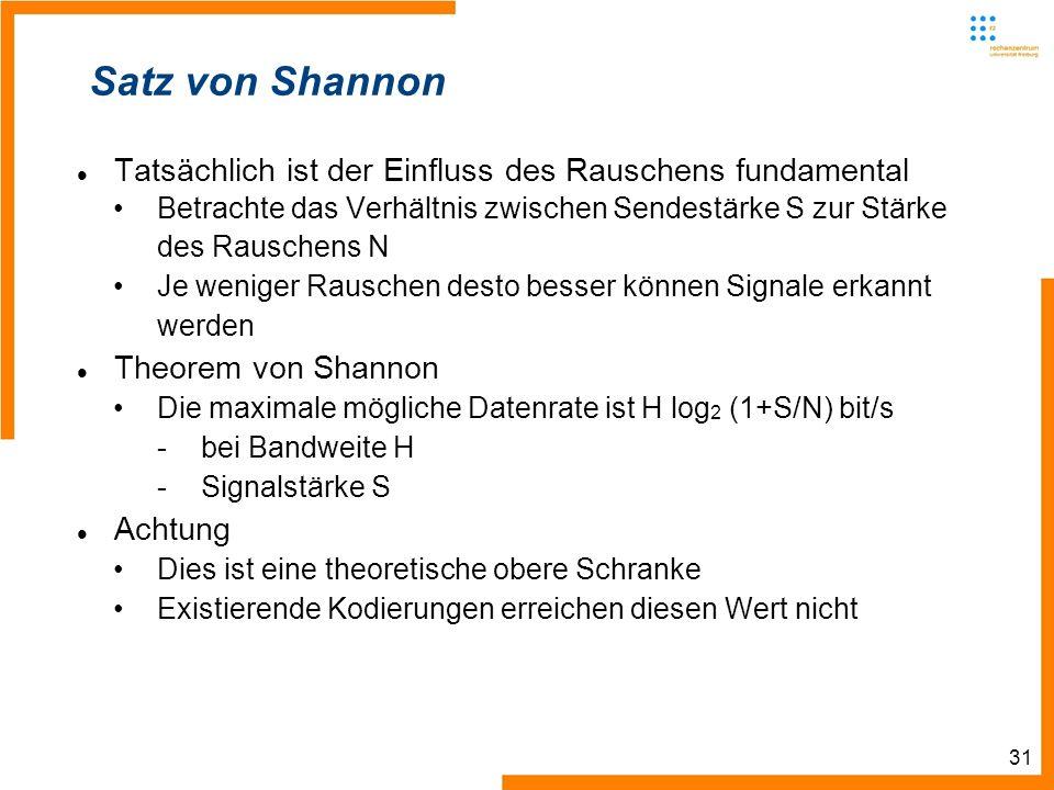 31 Satz von Shannon Tatsächlich ist der Einfluss des Rauschens fundamental Betrachte das Verhältnis zwischen Sendestärke S zur Stärke des Rauschens N