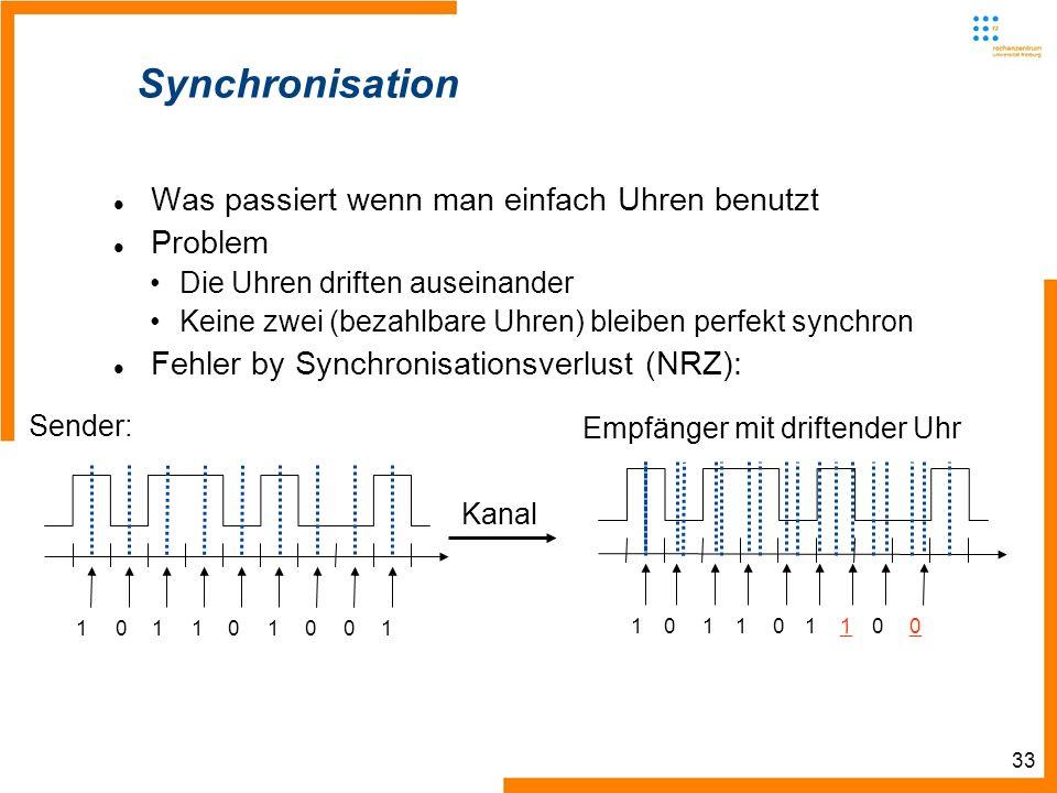 33 Synchronisation Was passiert wenn man einfach Uhren benutzt Problem Die Uhren driften auseinander Keine zwei (bezahlbare Uhren) bleiben perfekt syn