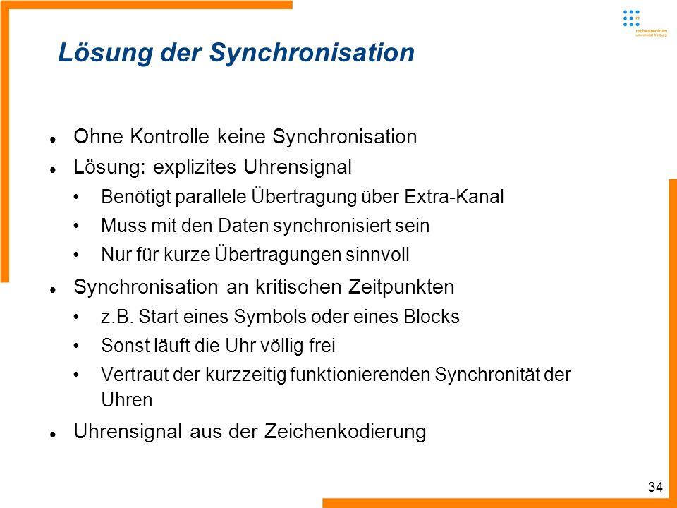 34 Lösung der Synchronisation Ohne Kontrolle keine Synchronisation Lösung: explizites Uhrensignal Benötigt parallele Übertragung über Extra-Kanal Muss