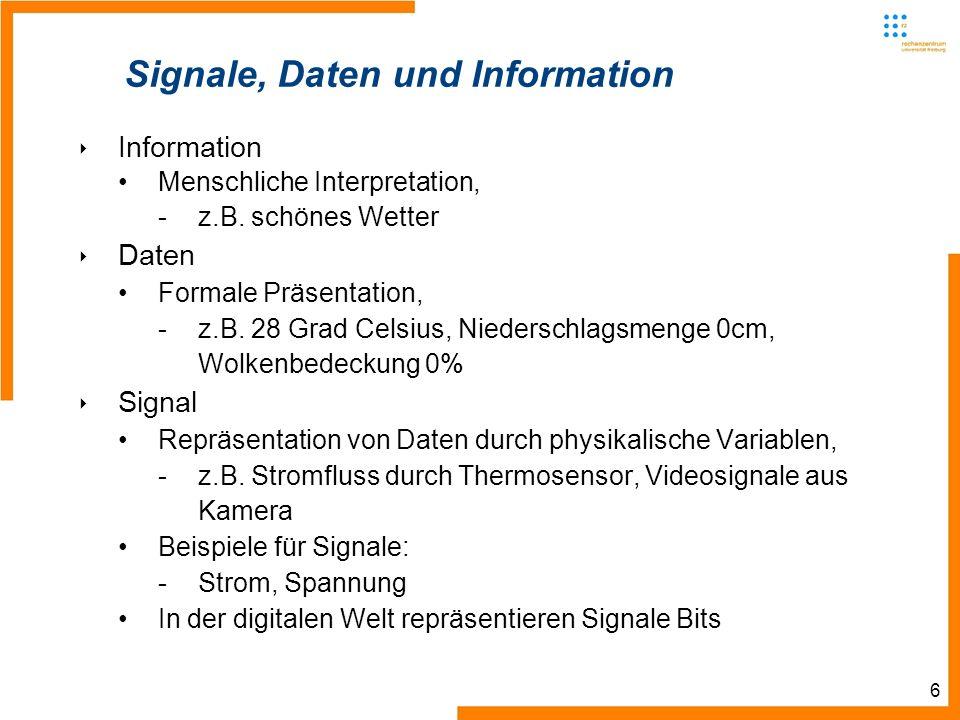 6 Signale, Daten und Information Information Menschliche Interpretation, -z.B. schönes Wetter Daten Formale Präsentation, -z.B. 28 Grad Celsius, Niede