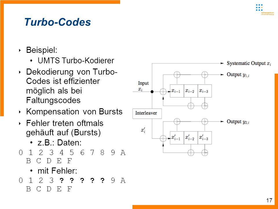 17 Turbo-Codes Beispiel: UMTS Turbo-Kodierer Dekodierung von Turbo- Codes ist effizienter möglich als bei Faltungscodes Kompensation von Bursts Fehler treten oftmals gehäuft auf (Bursts) z.B.: Daten: 0 1 2 3 4 5 6 7 8 9 A B C D E F mit Fehler: 0 1 2 3 .